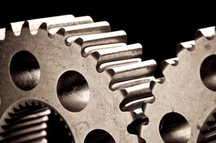 Darstellung von Zahnrädern eines Getriebes mit Wellenaufnahme für Feinverzahnung